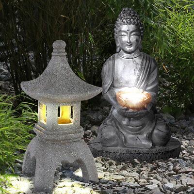 2X LED Exterior Solar Luces Asia Figura Buda Pagoda Piedra Diseño Jardín