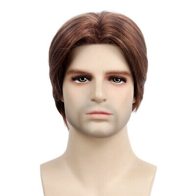 Mens Wig Brown Guy Short Layered Straight Cosplay Costume Party Middle Part Hair](Mens Wigs Costume)