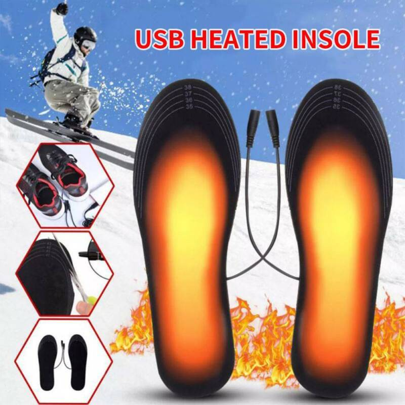Rechargeable Heated Insoles Winter Heater Warmer Foot USB He