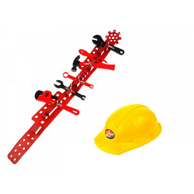 Kinder Werkzeugset mit Gürtel 8 tlg Handwerker Bauarbeiter Karneval Fasching Kinder-werkzeug-set