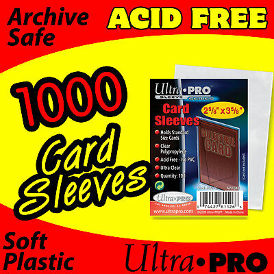(1000 ACEO ATC POLYPROPYLENE CLEAR PLASTIC CARD SLEEVES)