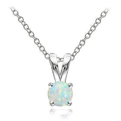 Sterling Silver Created White Opal Round Solitaire Necklace,  (Created White Opal Solitaire)