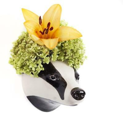 Badger Flower Wall Vase By Quail Ceramics, Wall Mounted Badger Head Vase