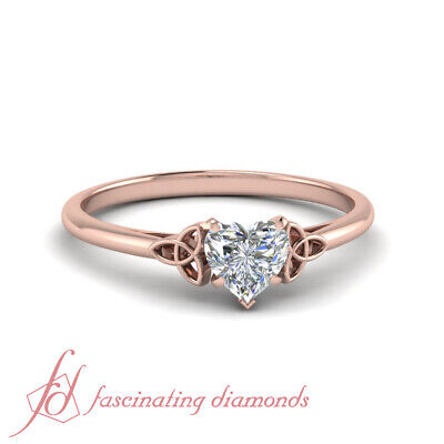 3/4 Carat Heart Shaped Diamond Rose Gold Cathedral Solitaire Engagement Ring