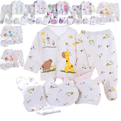 Baby Infant 5pcs Cotton Clothing Set Girls Boy Outfits Newborn Caring Gift 0-3M