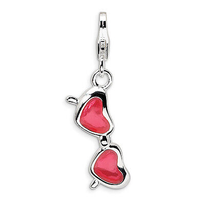 Coral Heart Sunglasses Charm Enameled .925 Sterling Silver Clip On Amore La Vita