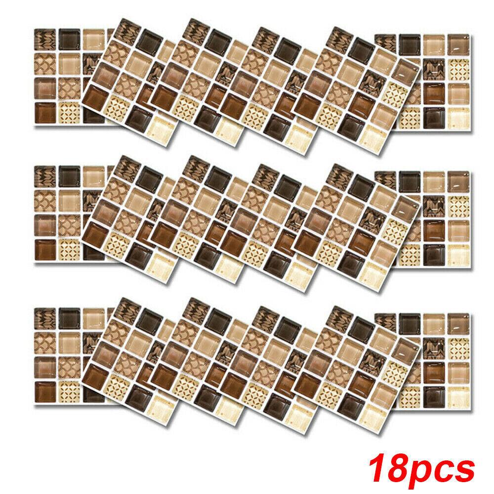 18pcs Mosaic Self-adhesive Bathroom Kitchen Decor Home Wall