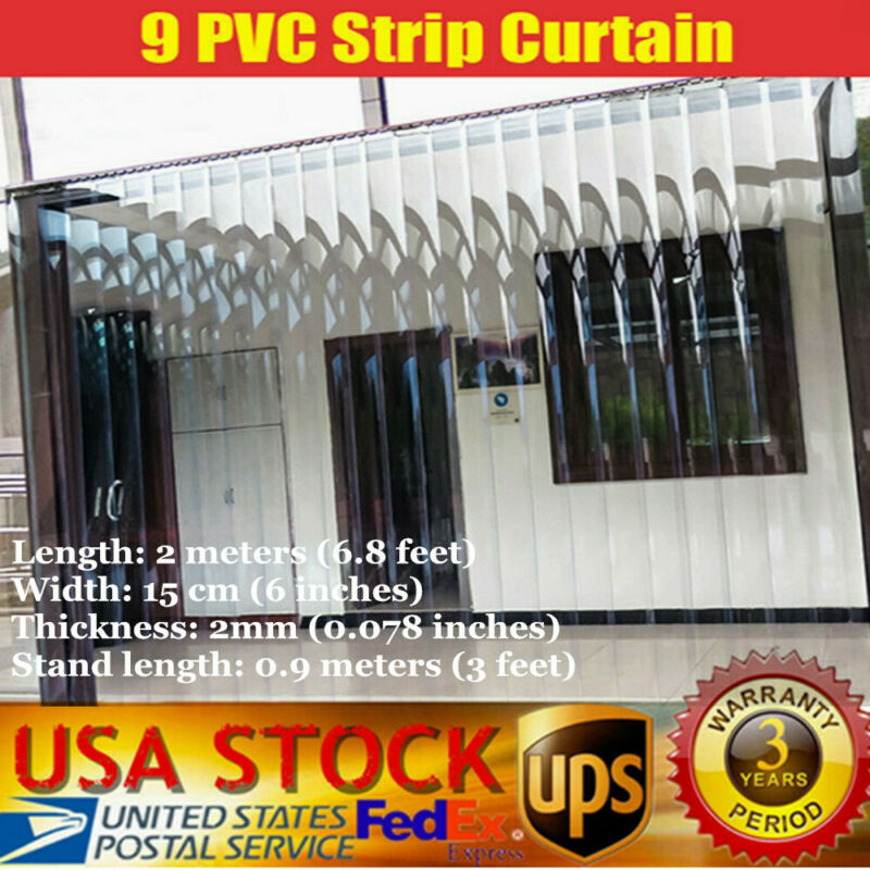9 PVC Strip Curtain Door Freezer clear vinyl door Warehouse Door Insulation USA