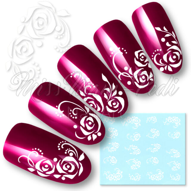 Rose Nail Art Water Decals Transfers Stickers White Flowers Dots ...