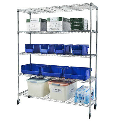 5-tier Wire Shelving With Wheels Nsf-certified Storage Shelf Chrome Plated Steel