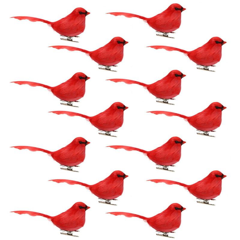 "5"" Lot of 14 Artificial Red Cardinal Birds Xmas Floral Crafts Realistic Feathers"