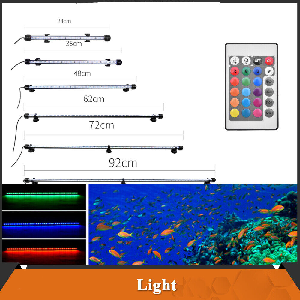 Aquarium Fish Tank RGB LED Light Submersible Waterproof Bar Strip Lamp Lighting