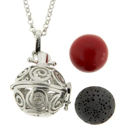 Celtic Spirals Jewelry Cage Pendant w/Aromatherapy Lava Bead & Red Harmony Ball!