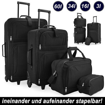Reisekoffer 4 tlg. Koffer Kofferset Trolleyset Reiseset Trolley Tasche schwarz