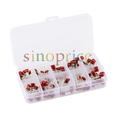 100pcs Metallized Polyester Film Capacitors Assortment Kit Red Silver 10 Value