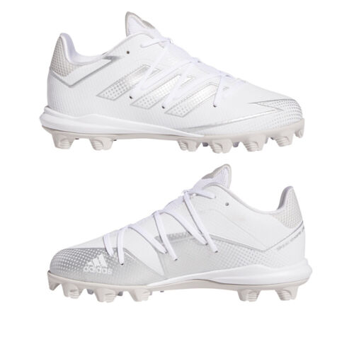 Adidas Afterburner 7 White Youth Baseball Cleats White/Silver