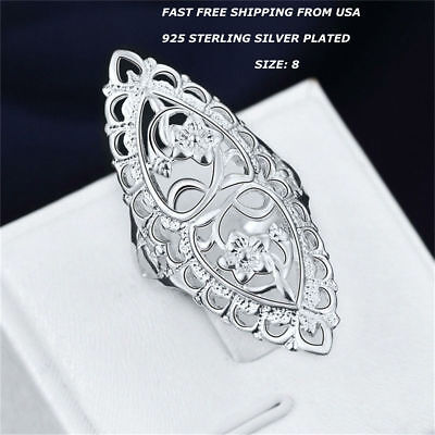 New Women Fashion Jewelry 925 Sterling Silver Plated Long Size 8 Finger Ring ()