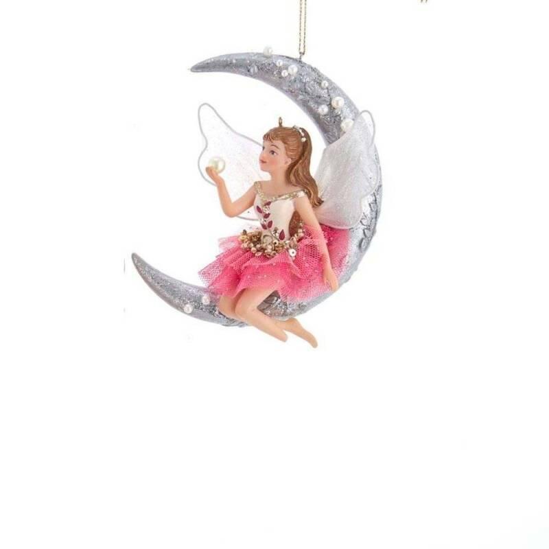 Kurt Adler Fairy Sitting On A Silver Moon Christmas Ornament TD1663