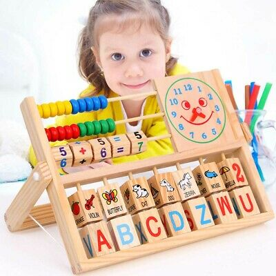 Wooden Kids Educational Toy Abacus Counting Number Frame Learning Maths Wood