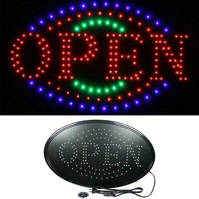 Oval - 23 X 14 Large Bright Led Neon Open Business Sign With Motion Animation