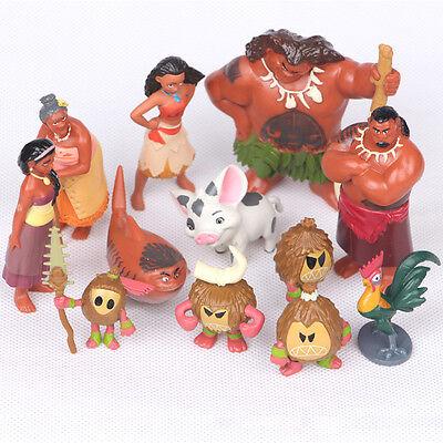 12 Pcs Disney Movie Moana Decoration Mini Pvc Action Figures Dolls Toys Gifts Us