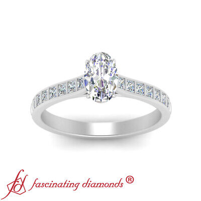 Platinum 0.75 Ctw Oval Shaped FLAWLESS Diamond Princess Accented Engagement Ring 1