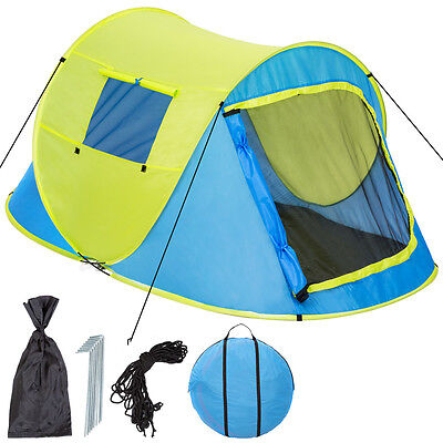Wurfzelt Pop-up Zelt Automatikzelt Camping Strand Trekkingzelt 2 Personen gelb