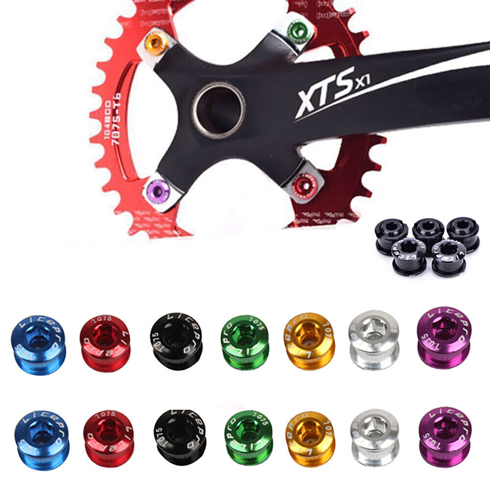 5Pcs Aluminum Alloy Chainring Bolt Bicycle Chainwheel Screws Mountain Road Bike Crankset Bolts for Single Double Triple Speed