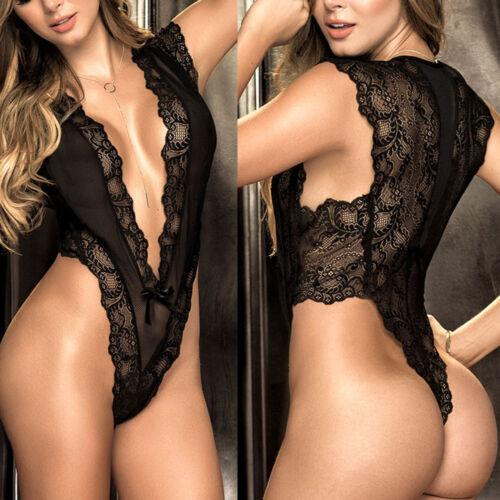 Lace Women Intimates Lace V-neck Temptation Racy Sleepwear Black Sissy Lingerie