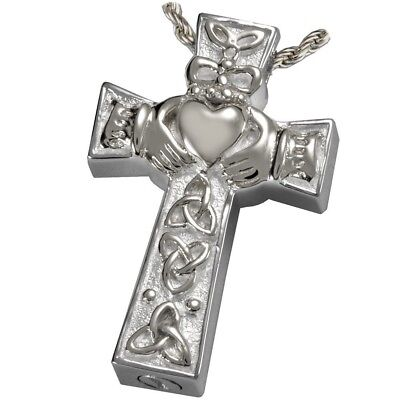 Celtic Heart Cross Ash Holder Cremation Urn Pendant Jewelry Sterling Silver