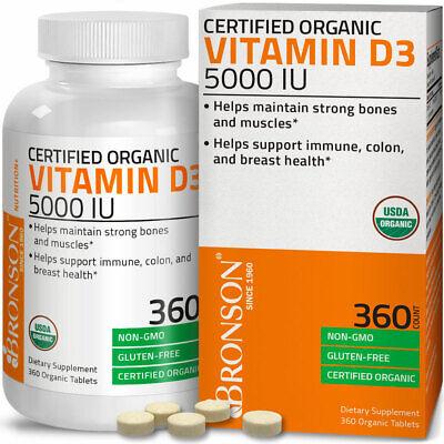 Vitamin D3 5,000 IU High Potency USDA Certified Organic Vitamin D, 360 Tablets Organic Vitamin C
