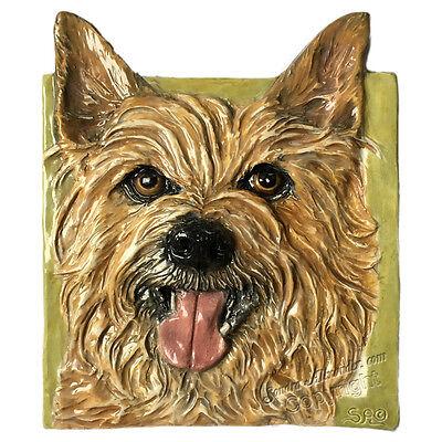 Australian Terrier Ceramic dog tile 3d bas-relief by Sondra Alexander Art