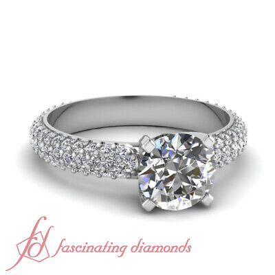 1.10 Ct Round Cut F-Color Diamond Three Row Engagement Rings Women GIA -
