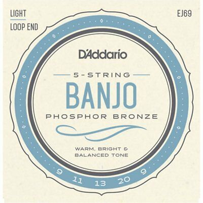D'Addario EJ69 5-String Banjo Phosphor Bronze strings, 9-20