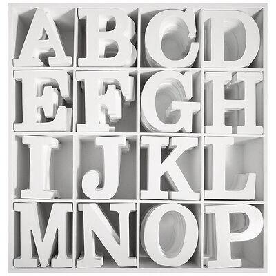 3D Holz Buchstaben weiß MDF A-Z Sonderzeichen Deko Schrift Alphabet Buchstabe ()