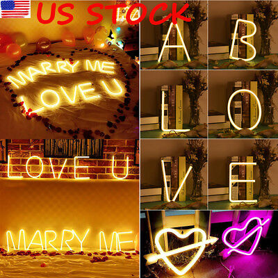26 Letters LED Neon Sign Night Light Lamp Wall Bar Club Background Wedding Decor - Club Decorations