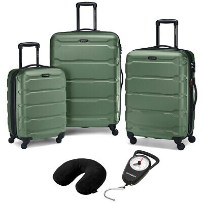 Samsonite Hardside Luggage Nested Spinner Set of 3 Army Green with Travel Kit