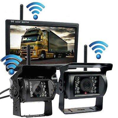 "7"" Monitor 2 X Wireless Rear View Backup Camera Night Vision For RV Truck Bus"