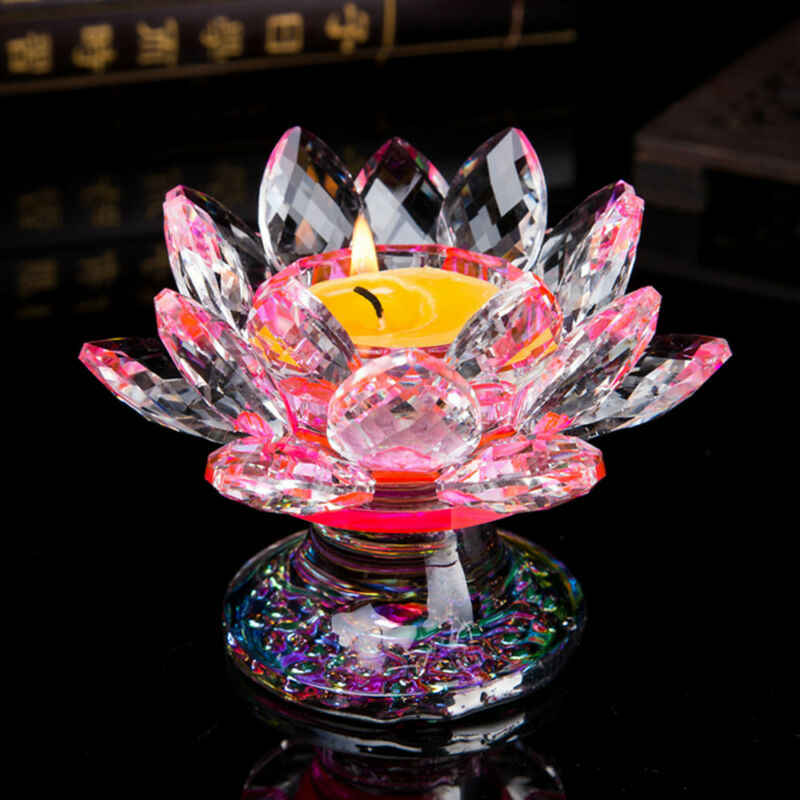 Glass Crystal Glass Feng Shui Decor Lotus Flower Candle Tea