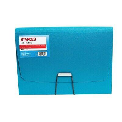 Staples Plastic 13 Pocket Reinforced Expanding Folder Letter Size Teal 2806369