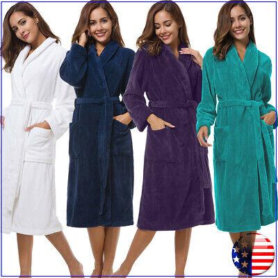 SIORO Women Robe Soft Fleece Bathrobe Thick Terry Long Sleepwear for SPA Shower