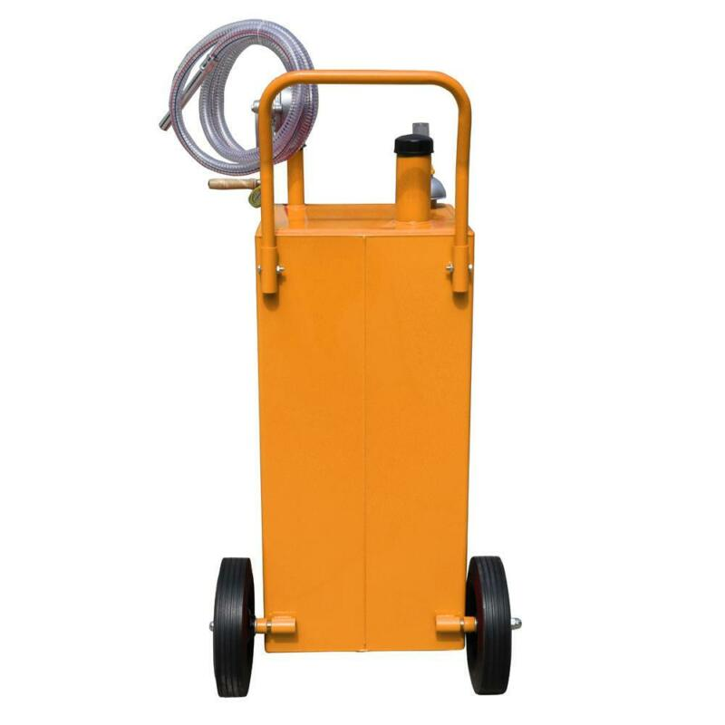 30 Gallon Gas Fuel Diesel Caddy Transfer Tank Container w/ Rotary Pump and Wheel