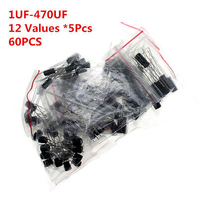 60pcs 12 Values 1uf-470uf Assorted Electrolytic Capacitor Assortment Kit Radial