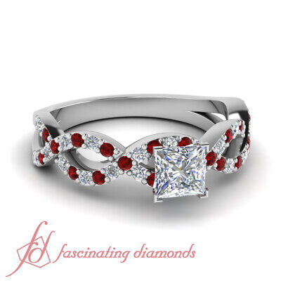 1.50 Ct Pave Set White Gold Diamond Rings With Princess Cut And Round Ruby GIA