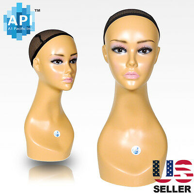 "Realistic Plastic Female MANNEQUIN head lifesize display wig hat 18"" B1"