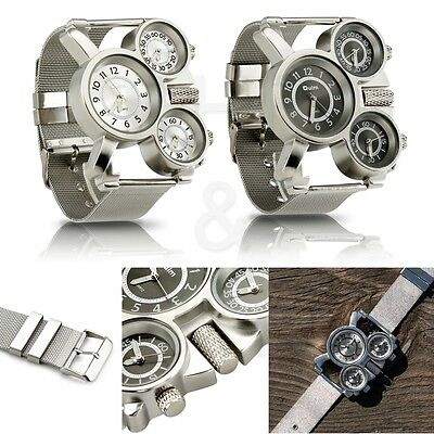 Mens Quartz Wrist Watch Stainless Steel Metal Mesh Strap Multi Time Zone Analog