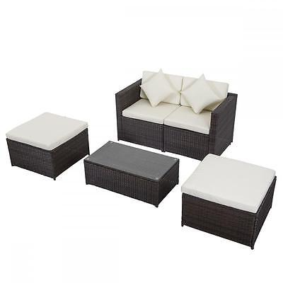 5 PCS Outdoor Patio Sofa Set Sectional Furniture PE Wicker Rattan Deck Couch F9