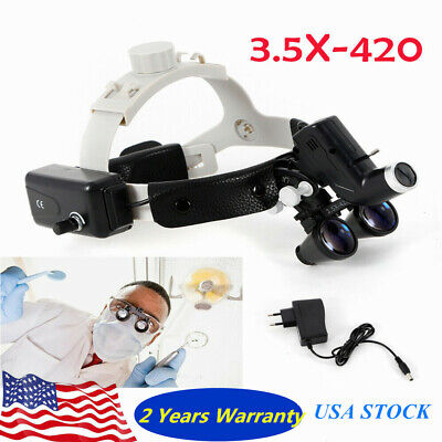 Dental Surgical 3.5x420 Leather Headband Loupe With Led Headlight Rechargeable