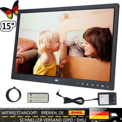 15Zoll TFT Bildschirm Digitaler Bilderrahmen Videoplayer + Fernbedienung Schwarz