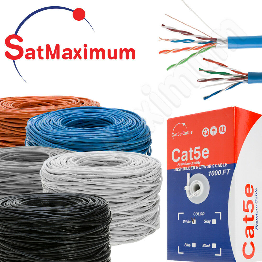 Купить SatMaximum - CAT5e Cable 1000ft UTP FTP Bulk Solid 24AWG RJ45 Ethernet Cat5 Spool - Pull Box